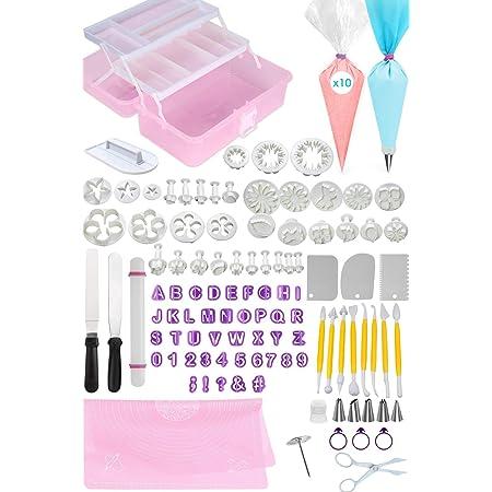 Suministros de decoración para tartas de FONDANT Tools: kit de 123 piezas, bolsas de pastelería, puntas, 2 espátulas offset, cortadores de letras y formas, alfombrilla para hornear, pastel, galletas, cupcakes y accesorios de glaseado