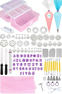 FONDANT TOOLS CAKE DECORATING SUPPLIES - 116pc baking kit, Icing Piping Bags, tips, 2 offset spatula, letter and shape cutters, baking mat, rolling pin, pastry, cookie, cupcake & frosting accessories