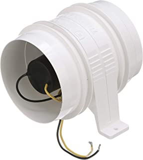 Attwood 1749-4 Turbo 4000 Series II In-Line Blower, For 4-Inch Interior Diameter Vent Hose, Water Resistant, 12-Volt