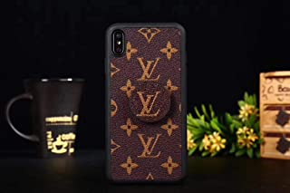 iPhone Xs Case, Premium PU Leather Slim Fit Cover Case with Phone Holder, Classic Embossed Designer Phone Case for iPhone Xs and iPhone X, Brown