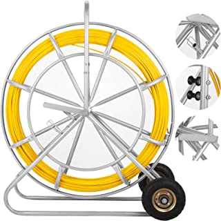 Happybuy 8MM 853FT Duct Rodder Fish Continuous Fiberglass Tape Wire Cable Running with Cage and Wheel Stand