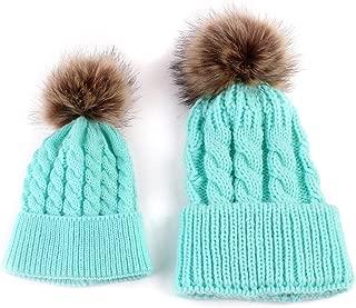 2PCS Parent-Child Hat Warmer, Mother & Baby Daughter/Son Winter Warm Knit Hat Family Crochet Beanie Ski Cap