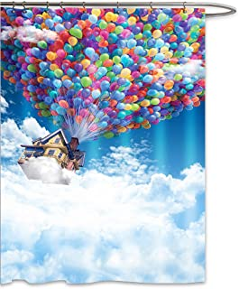 FKOG Balloon Shower Curtain Sets Fantasy Fabric Colorful Hot Air House Fly in The Sky Cute Kid Fabric Waterproof Funny Bathroom Curtains Blue White Red Green Yellow 70 Wx78 L Inches