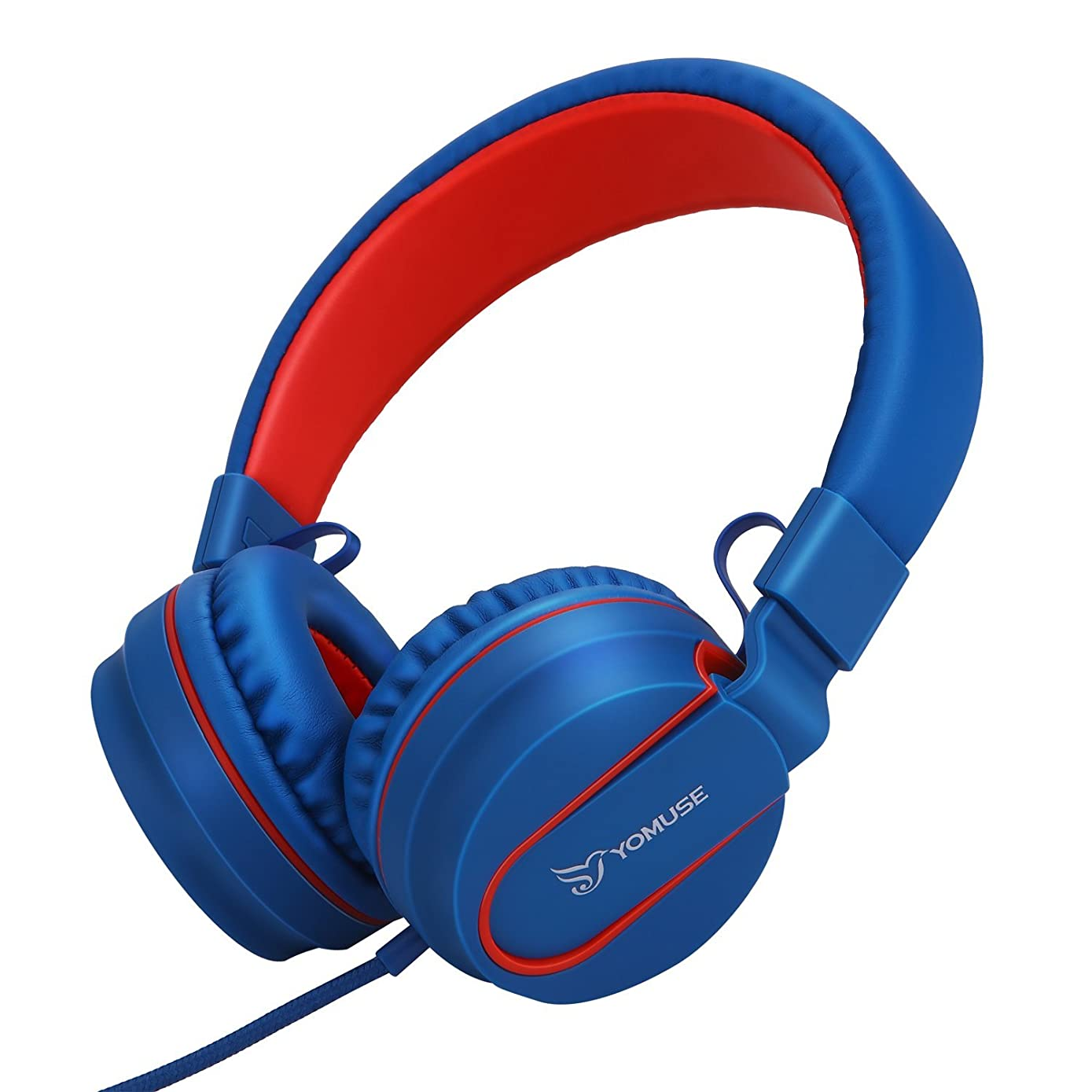 Yomuse F95 On Ear Headphones Foldable Adjustable Headband with Microphone, 3.5mm Plug Jack for Kids Childrens Teens Adults Blue Red