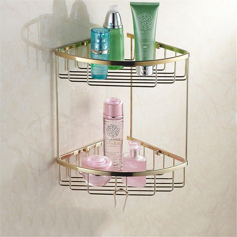 Continental gold Copper minimalist bathroom accessory kit soap box Toilet brush holder single double bar, built-in basket 2