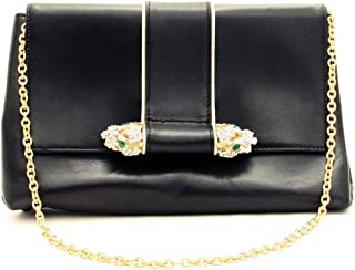 Black Leather Swarovski Crystal Dragon Head Shoulder-Clutch Bag