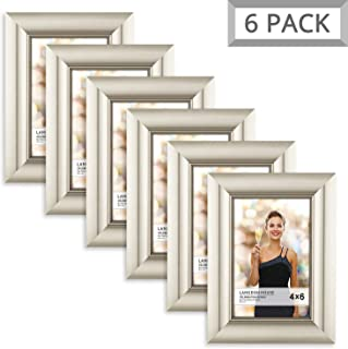 Langdon House 4x6 Picture Frame (6 Pack, Champagne), Photo Frame 4 x 6, Wall Mount or Table Top, Set of 6 Celebration Collection