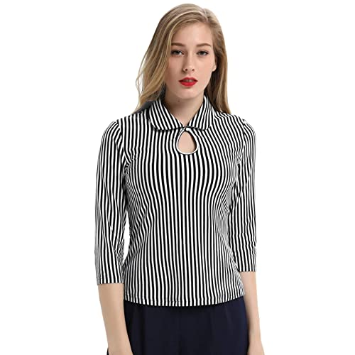 7cf602872149 Womens 3/4 Sleeve Vintage Blouse Stretch Stripe Top with Bow Tie BP789