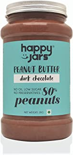 Happy Jars 1kg Dark Chocolate Peanut Butter, 7g Protein, Real Chocolate, Very low Sugar