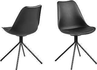 Amazon Brand - Movian Arendsee - Juego de 2 sillas de comedor 42 x 485 x 85cm negro