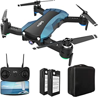 HUKKKYVIT sbg616 Foldable GPS Drone with Camera for Adults 2k HD FPV, Quadcotper with Auto Return Home, Follow Me, Altitude Hold, Tap Fly Functions, Includes 2 Batteries and Carrying Handbag