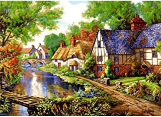 Diamond Painting Kits for Adults, Kids. Room Decoration, Home Office Small Town By The River 15.7x11.8in Pack By Ueyoo