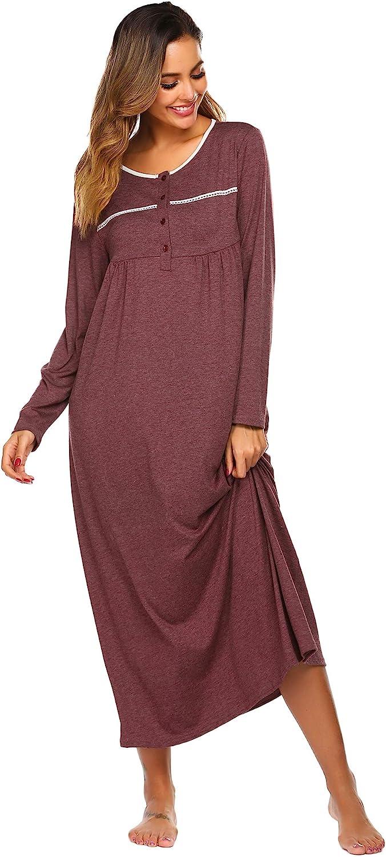 Ekouaer Long Sleeve Nightgown Women's Round Neck Sleepwear Long Button Up Nightshirt Full Length Sleep Dress