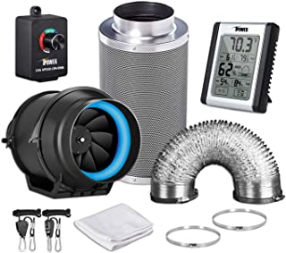 iPower GLFANXEXPSET6D16CHUMD 6 Inch 350 CFM Inline Carbon Filter 16 Feet Ducting with Fan Speed Controller and Temperature Humidity Monitor and Grow Tent Ventilation, Kits, Black