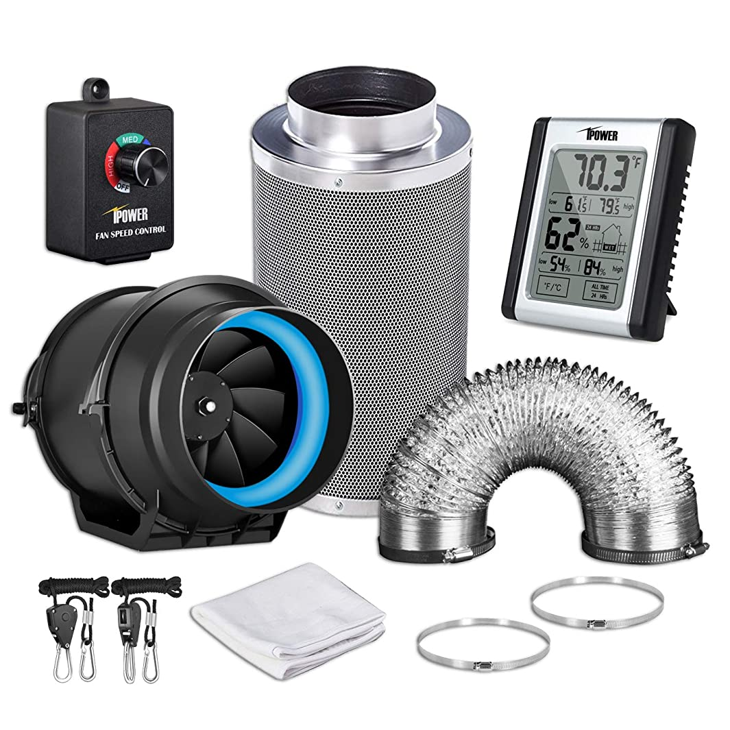 iPower GLFANXEXPSET6D8CHUMD 6 Inch 350 CFM Inline Carbon Filter 8 Feet Ducting with Fan Speed Controller and Temperature Humidity Monitor and Grow Tent Ventilation, Kits, Black