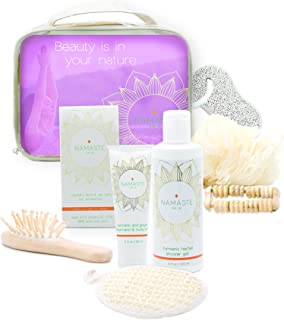 Namaste Skin, Mothers Day Special Spa Gift Set - 8-Piece Bath and Body Gift Bag with Lavender, Includes Shower Gel, Body Lotion, Bath Salt and More. Perfect for Christmas, Mother's Day, Etc.