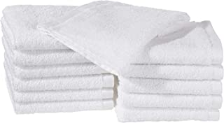AmazonBasics - Paños de algodón (30,5 x 30,5 cm), pack de 12 - Blanco