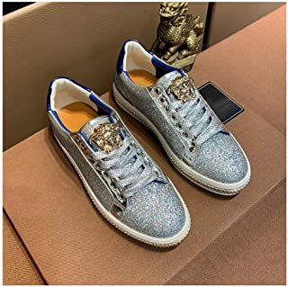 Fashion Trendy Sequins Printing Men's Casual Board Shoes Breathable Casual Shoes Wear-Resistant Non-Slip Low Top Shoes Lace Up Breathable Best Selling Travel Men's Shoes Lightweight,Silver,40EU