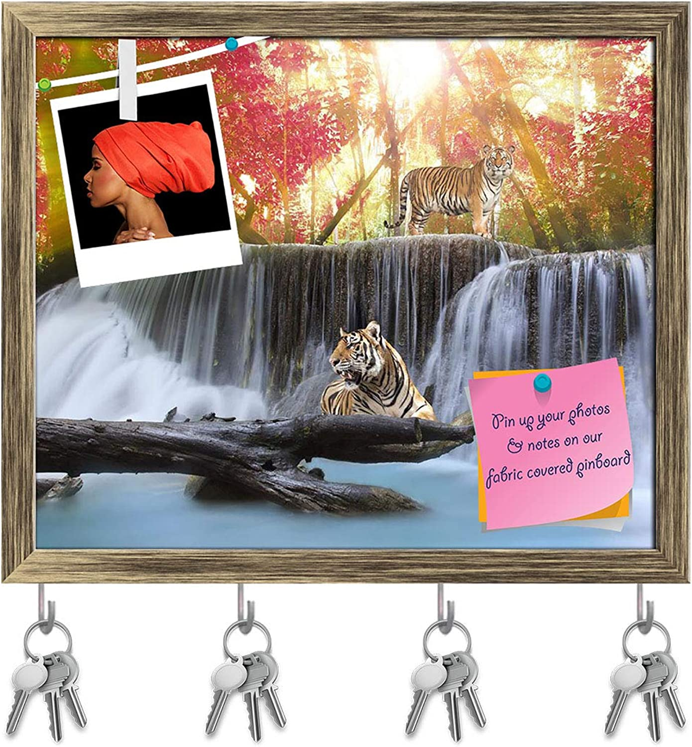 Artzfolio Tiger in The Jungle Key Holder Hooks   Notice Pin Board   Antique golden Frame 19.2 X 16Inch