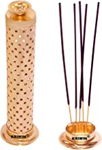 KRIWIN Safety Agarbatti Stand with Dhoop Holder on Top Gold Plated 26 x 7.6 x 5.2 cm