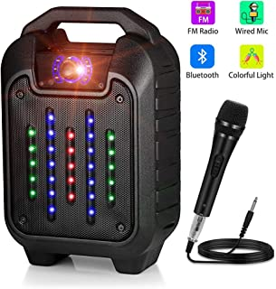 Portable PA System Bluetooth Karaoke Machine Speaker,Rechargeable Karaoke System with LED Lights & Wired Microphone,FM Radio
