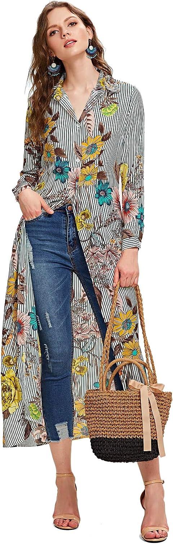 SheIn Women's Long Sleeve Button Up Stripe Floral Longline Blouse Shirt Cardigan