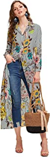 vertical striped floral longline shirt