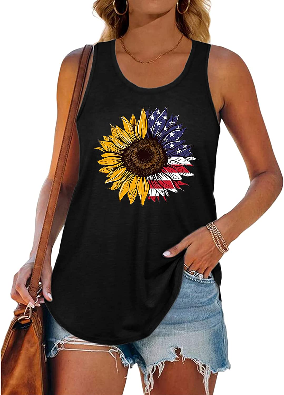 Tank Tops For Women Casual Summer, Women'S Sleeveless Scoop Neck Tank Tops Sunflower Tunic Shirts Casual Summer Vest
