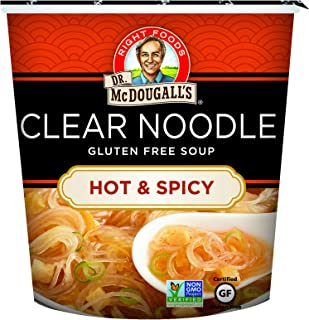 Dr. McDougall's Right Foods Asian Soup Hot and Spicy Clear Noodle Soup 1.0 Ounce (Pack of 6) Gluten-Free, Non-GMO, No Added Oil, Paper Cups From Certified Sustainably-Managed Forests