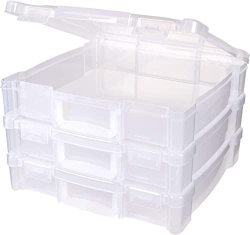 """ArtBin 6913ZZ 12"""" x 12"""" Portable Art & Craft Organizer with Handle 3-Pack, [3] Plastic Storage Cases, Clear, 3 Pack"""