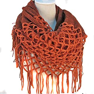 Nsstar Women Winter Warm Crochet Knit Long Tassels Soft Wrap Shawl Scarves Scarf Two Styles Infinity and Straight (Orange)