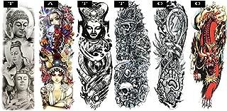Pinkiou Temporary Tattoo Full Arm Body Stickers Arm Shoulder Tattoo For Man Women Buddha, Skull, Eagle eye, Beauty and Beast Etc (18-0093)