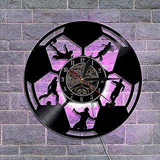 12'' ビニールレコードの壁掛け時計 アートランプリモコン サイレント 置き時計 掛け時計 フットボール,A