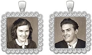Bridal Wedding Bouquet Photo Charm Silver Squares Pack of 2 Rhinestone Photo Charm Includes Photo Resizing Software