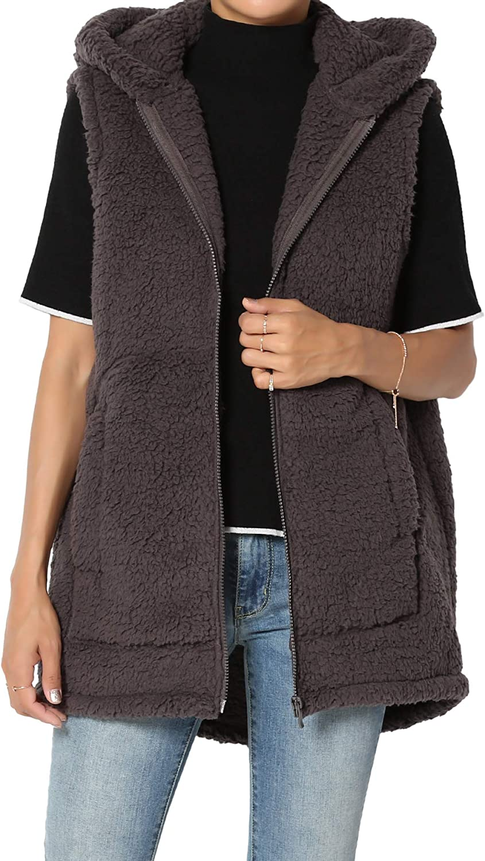 TheMogan S~3X Oversized Soft Teddy Sherpa Fleece Hooded Zip Front Jacket Or Vest