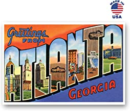 GREETINGS FROM ATLANTA, GA vintage reprint postcard set of 20 identical postcards. Large Letter Atlanta, Georgia city name post card pack (ca. 1930's-1940's). Made in USA.