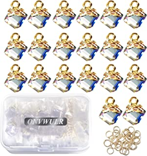 ONVWULR 20Pcs Clear Cubic Crystal Charms Pendants for Jewelry Making Necklace Earrings Accessories