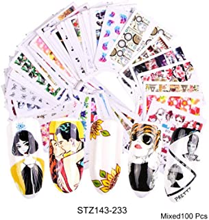 1 Set Mixed Nail Stickers Sets Water Transfer Decals Flower Lace Cartoon Designs Slider Manicure Foils Nail Art Decoration TR830 STZ143-233 100PCS