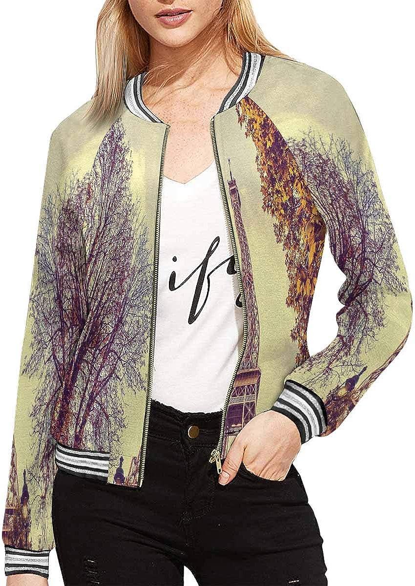 InterestPrint Women's 5 ☆ popular Zip Up Baseball Jacket New Orleans Mall Long Short Sleeves