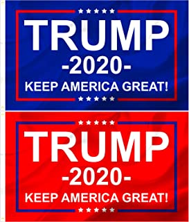 Best RED COUNTRY Donald Trump 2020 Flags, 2 Pc Set, Keep America Great, Front Yard, Garden and Outdoor Use, UV and Weather Resistant, MAGA Review