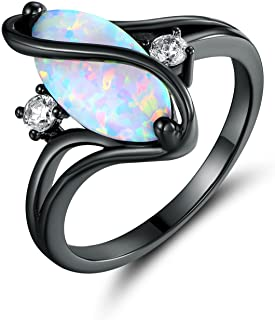 Rose Gold & White Gold Plated Created Ruby, White Fire Opal & Cubic Zirconia Accents Ring