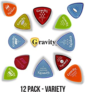 Gravity Picks: Acrylic Guitar Pics with Polished Bevels for Brighter Sound & Tighter Grip: Variety Pack - 12 Picks, Various Shapes, Sizes, Thicknesses & Grip Holes