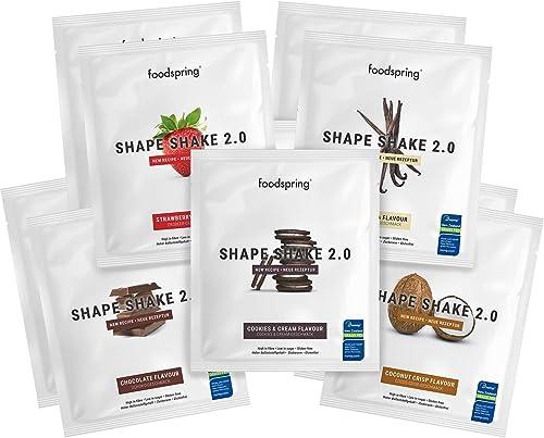 foodspring Shape Shake 2.0, Pack de 10, 10 x 60g, Substitut de repas riche en protéines et savoureux pour contrôle de...