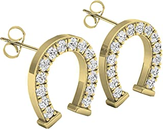 0.10 Carat (ctw) 14K Gold Round White Diamond Ladies Horseshoe Stud Earrings 1/10 CT