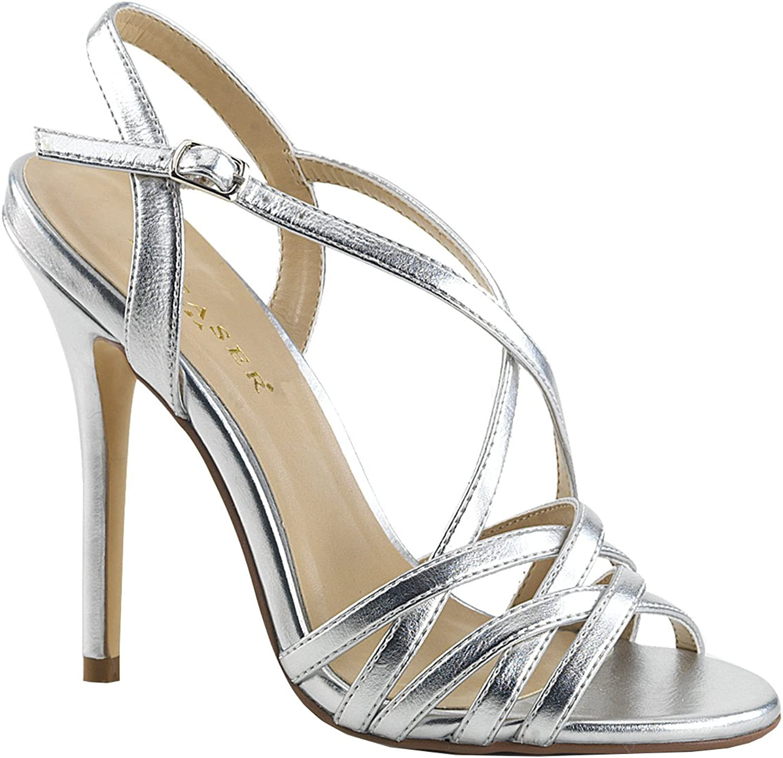 Higher-Heels PleaserUSA PleaserUSA PleaserUSA Damen Riemchen Sandalen Amuse-13 Silber metallic  97dc60