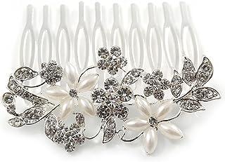 中度新娘/婚礼/舞会/派对镀铑透明奥地利水晶人造珍珠花发梳 - 60mm