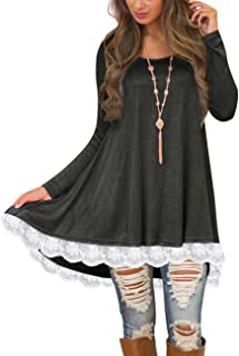 fa8cf057226 Sanifer Women s Lace Long Sleeve Tunic Tops with Pockets Long Tunic Shirts  for Leggings