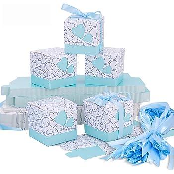 Meersee Cajas de Boda Regalo 100 Cajas de Bautizo Caramelo Cumpleaños Dulces Bombones Regalos Detalles con Cintas para Invitados de Boda Fiesta Comunion, Bautizo Cumpleaños (Azul): Amazon.es: Hogar