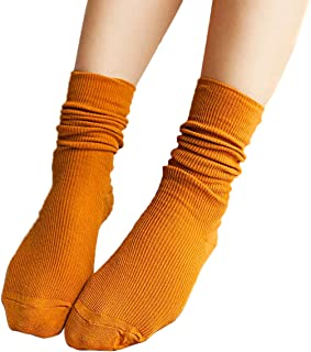 iSpchen, Butterme 3?Pares Mujer Super Suave Lana Calcetines Vintage Solid Color Algod¨®n Invierno C¨²mulos Medias Calcetines Botas Calcetines Medias Calcetines Amarillo Amarillo Talla ¨²nica