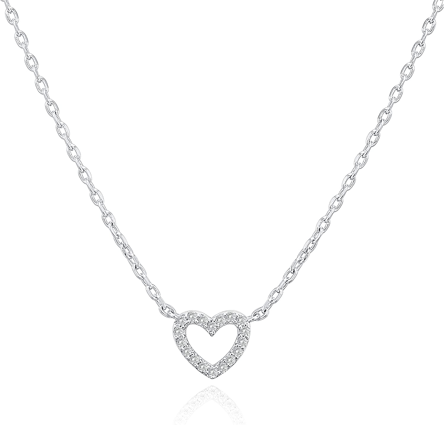 PAVOI 14K Gold Plated Dainty Pendant Necklace | Heart, Dot, Halo, Butterfly Pendant | Layering Necklaces | Gold Necklaces for Women